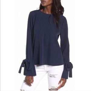 J.O.A. Navy Pinstriped Tie Sleeve Blouse